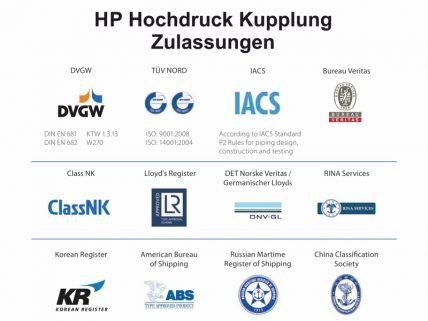 HP-Kupplung-Zulassungen